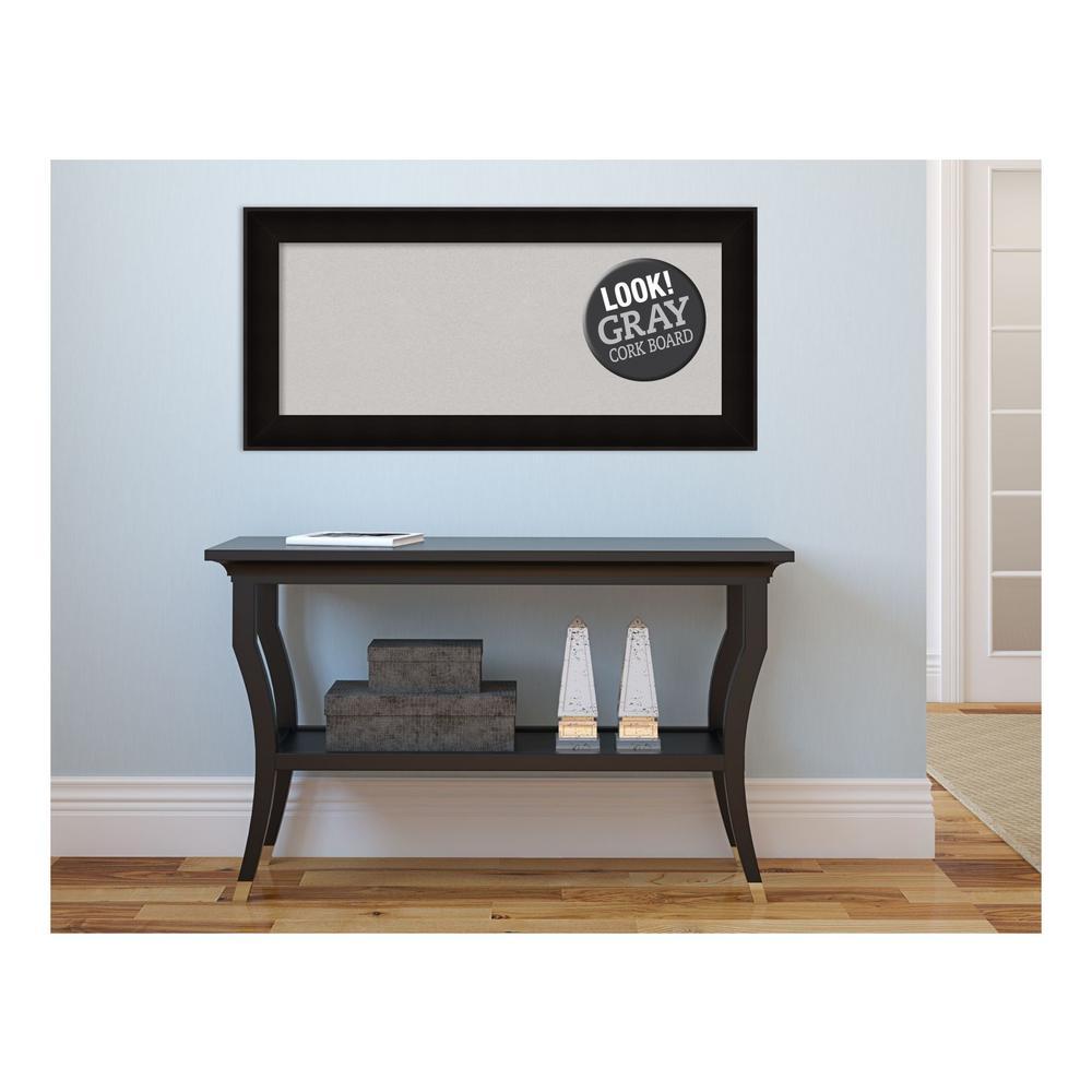 Manteaux Black Wood 34 in. x 16 in. Framed Grey Cork Board