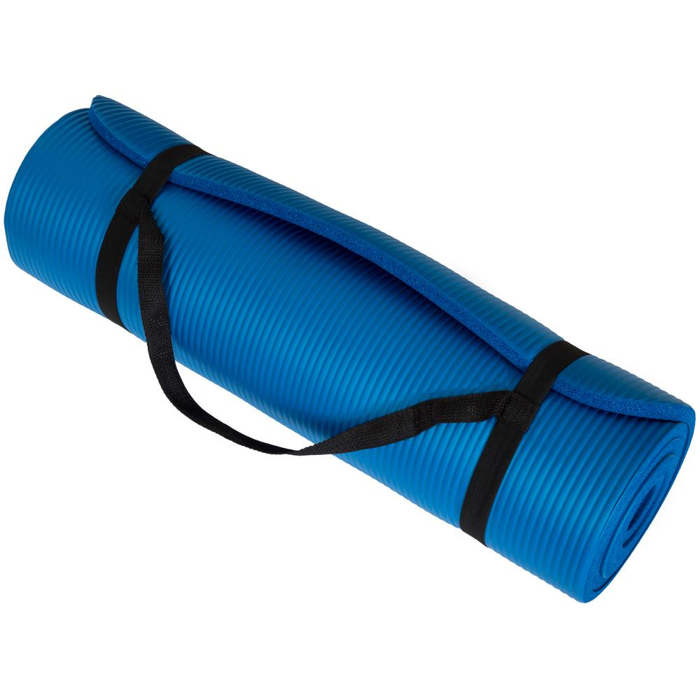 Wakeman 71 in. x 24 in. x .5 in. Extra Thick Yoga Exercise Mat in Blue