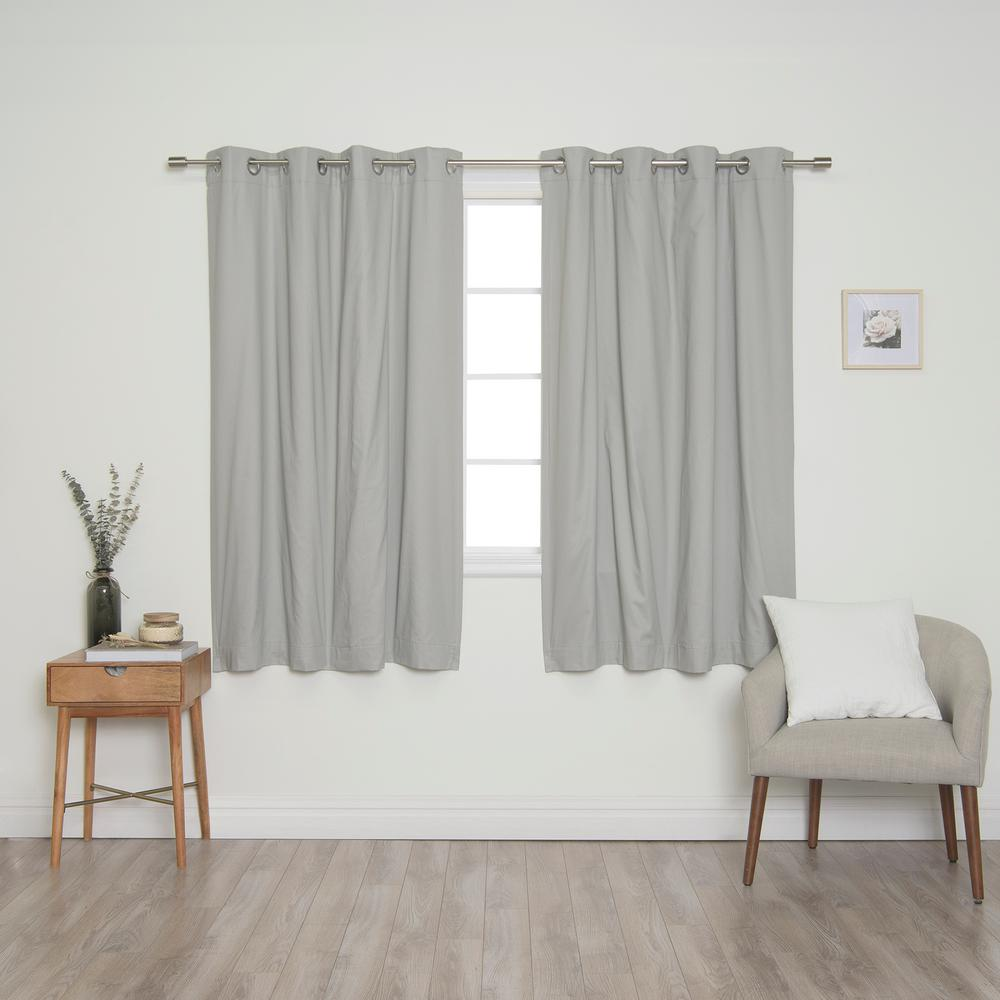 Best Home Fashion Grey Solid Cotton Blackout Thermal Grommet Curtain Panel Set 52 In X 63 In 2 Panels Fz 01 Sil Bo 63 Grey The Home Depot