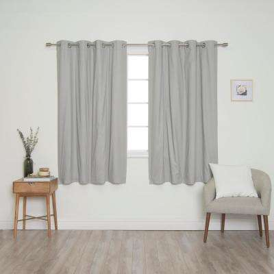 Grey Solid Cotton Blackout Thermal Grommet Curtain Panel Set - 52 in. x 63 in. (2-Panels)
