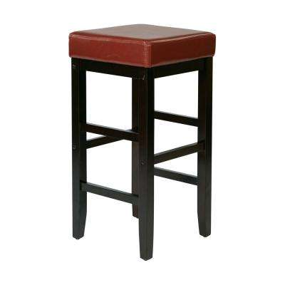 30 in. Square Red Faux Leather Barstool with Espresso Legs