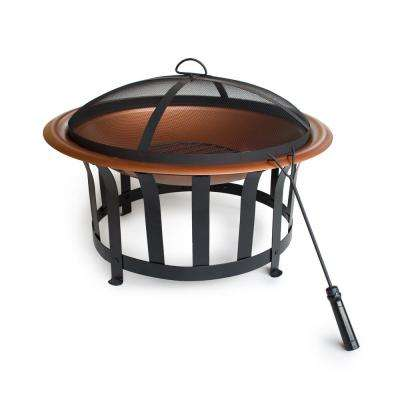 30 in. Dia x 19 in H Round Steel Wood Burning Fire Pit in Copper Color