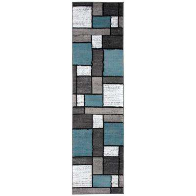 Contemporary Geometric Boxes Blue/Gray Indoor Runner 2 ft. x 7 ft. 2 in. Area Rug