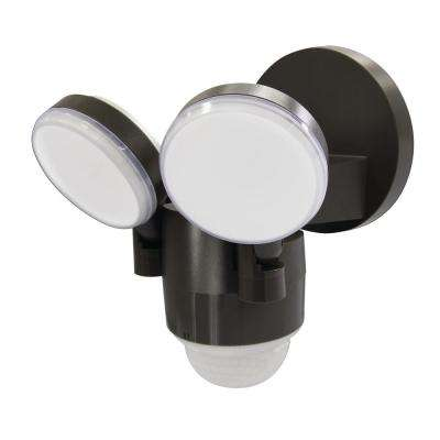 180-Degree Bronze Motion Activated Outdoor Integrated LED Flood Lights with 1100 Lumens