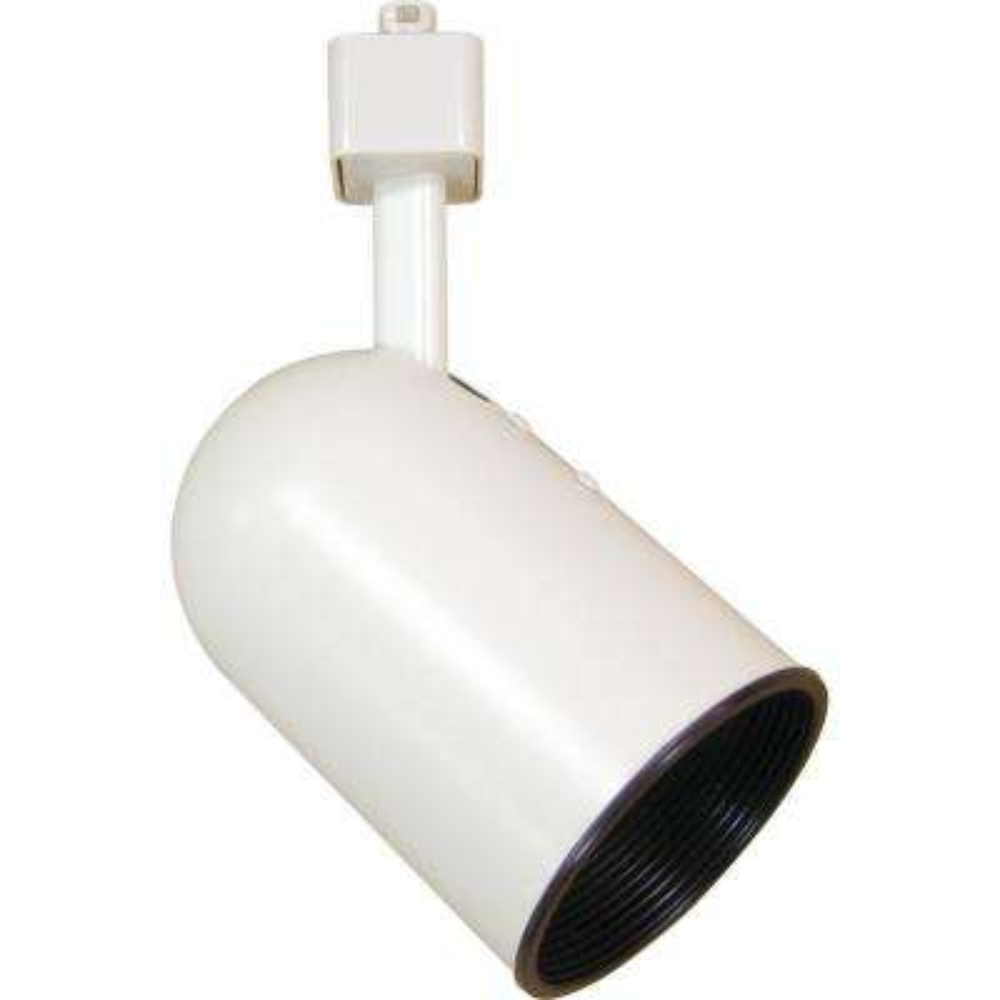 1-Light White Adjustable Large Round Back Cylinder Track Lighting Head