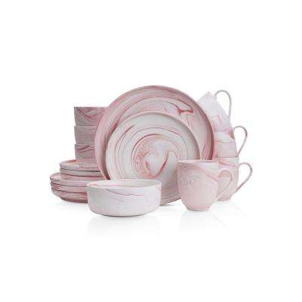 32-Piece Casual Pink Porcelain Dinnerware Set (Set for 8)
