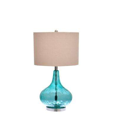 25.5 in. Blue Thumbprint Glass Table Lamp with Bulb Included