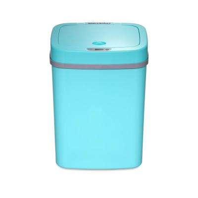 3 Gal./12 l Automatic Rectangular Touchless Infrared Motion Sensor Plastic Base Trash Can with Tiffany Blue Lid