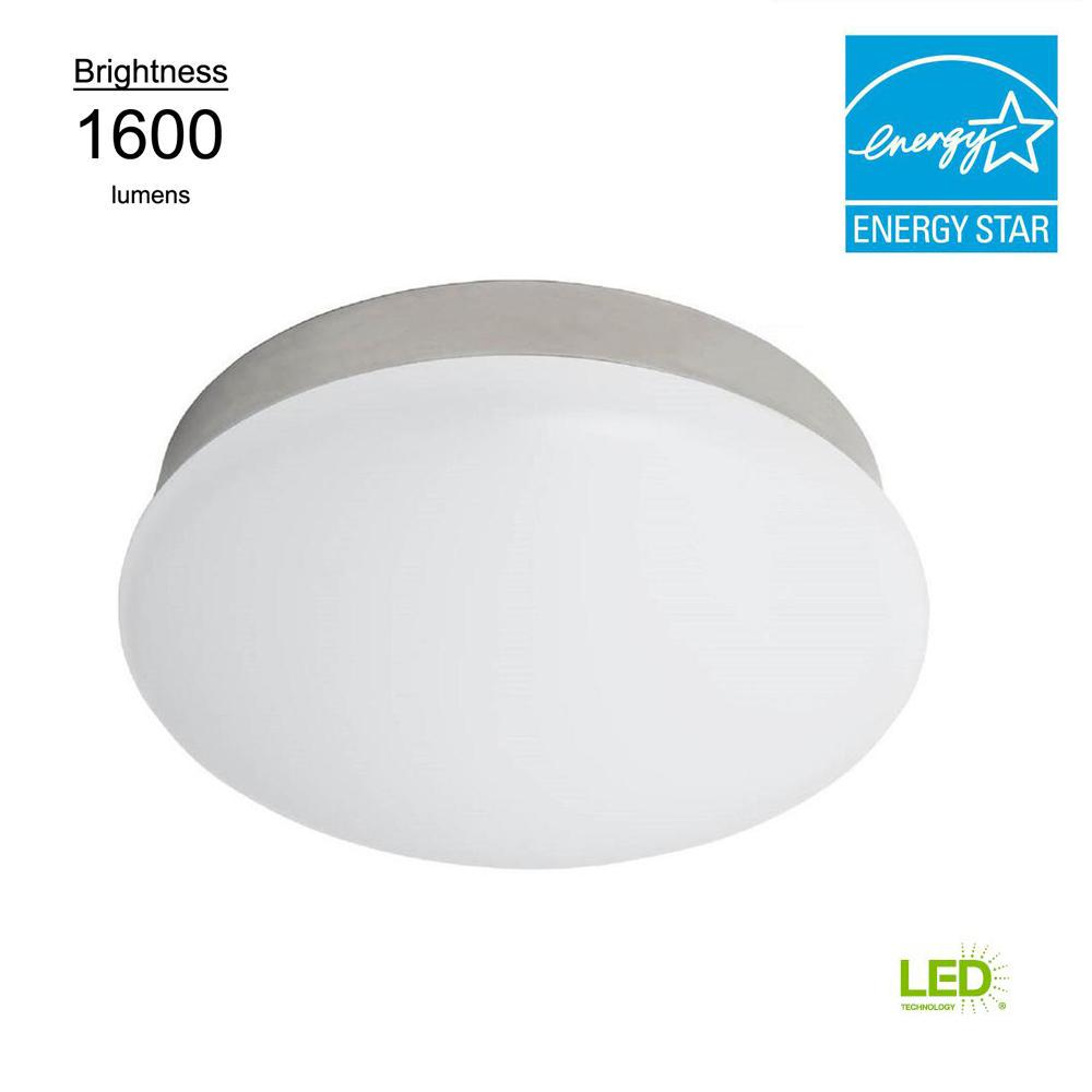 led flush mount fixture outdoor porch light commercial electric lightbulb replacement 11 in round white 100 watt equivalent integrated led flushmount
