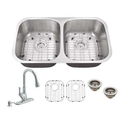 All-in-One Undermount Stainless Steel 32.25 in. 50/50 Double Bowl Kitchen Sink with Polished Chrome Kitchen Faucet