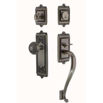 Egg and Dart Plate 2-3/8 in. Backset Antique Pewter S Grip Entry Set Egg and Dart Knob