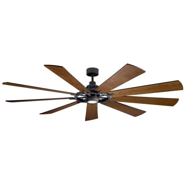 Gentry 85 in. Integrated LED Indoor Distressed Black Downrod Mount Ceiling Fan with Light Kit and Wall Control