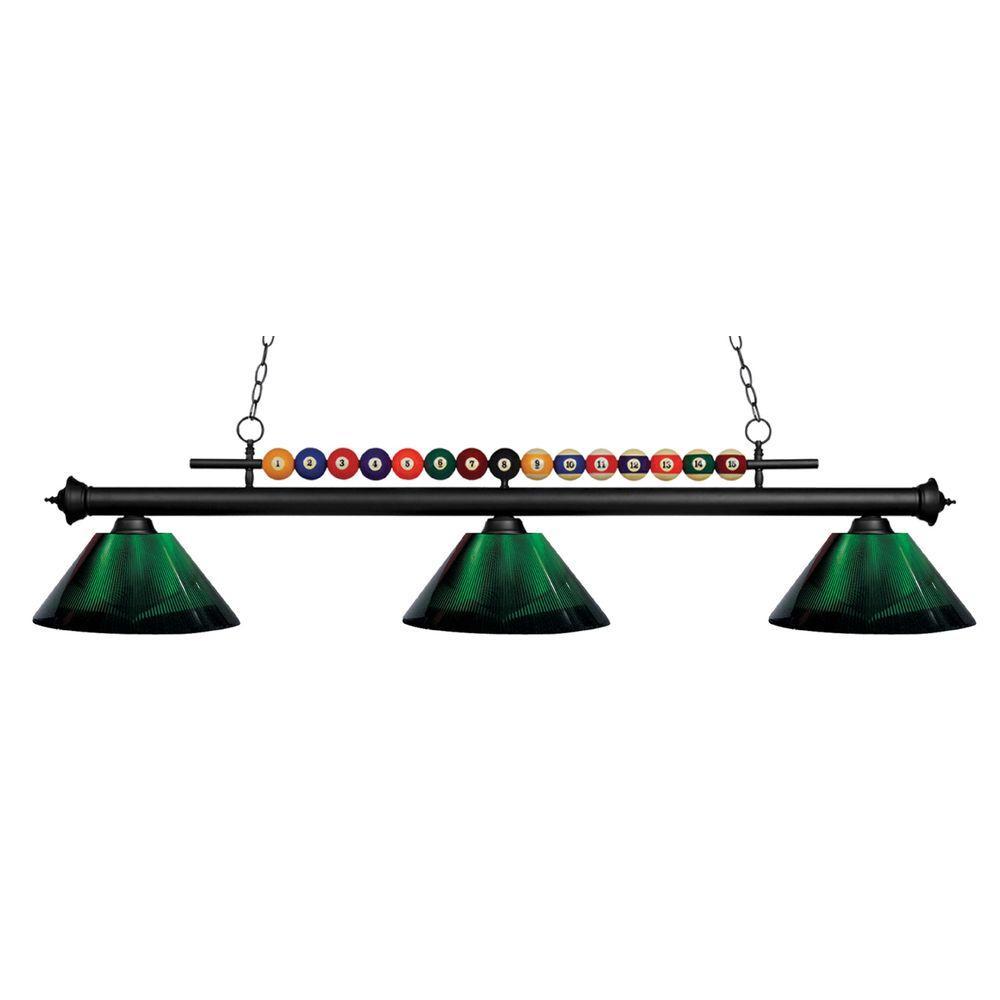 Pool table lights lighting the home depot kerstin 3 light matte black billiard light keyboard keysfo Image collections