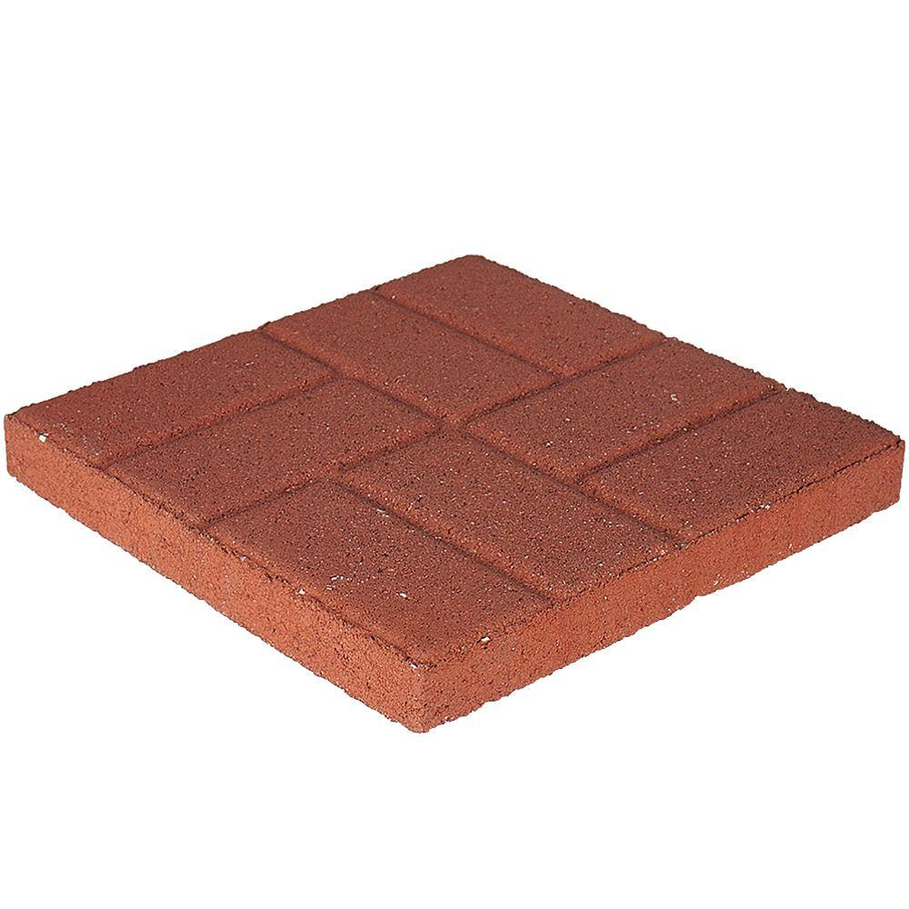 16 in x 16 in x 1 75 in river red concrete brickface square step rh homedepot com cement patio blocks home depot patio stone edging home depot
