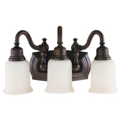 Canterbury 18.5 in. W 3-Light Oil Rubbed Bronze Vanity Light with Opal Etched Glass