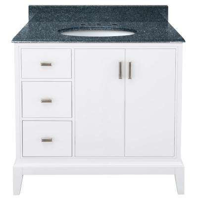 Shaelyn 37 in. W x 22 in. D Bath Vanity in White LH Drawers with Granite Vanity Top in Blue Pearl with White Sink
