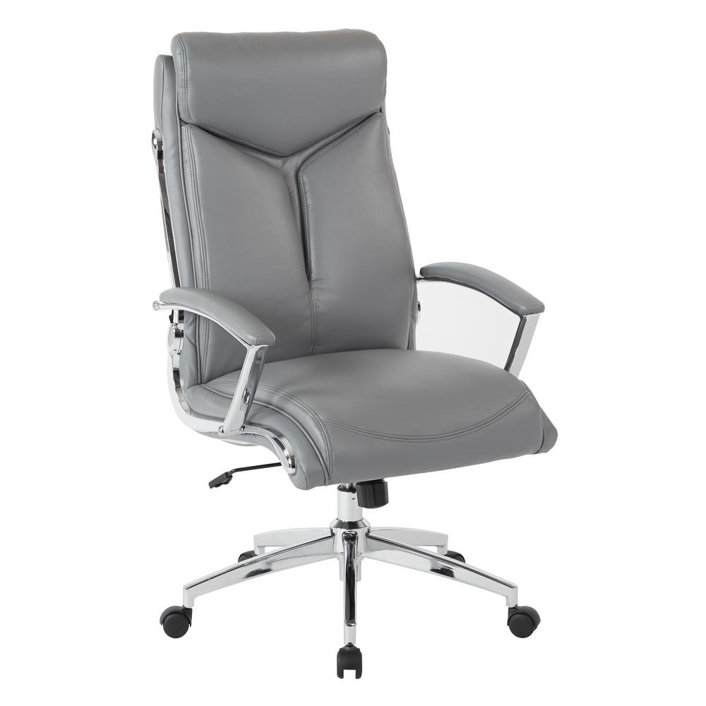 Executive Gray Faux Leather High Back Chair with Padded Arms and
