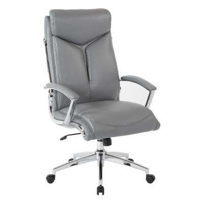 Executive Gray Faux Leather High Back Chair with Padded Arms and Chrome Base