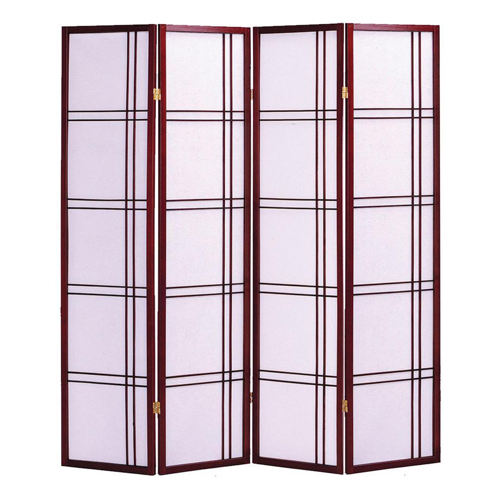 Shoji 6 ft. Cherry 4-Panel Room Divider