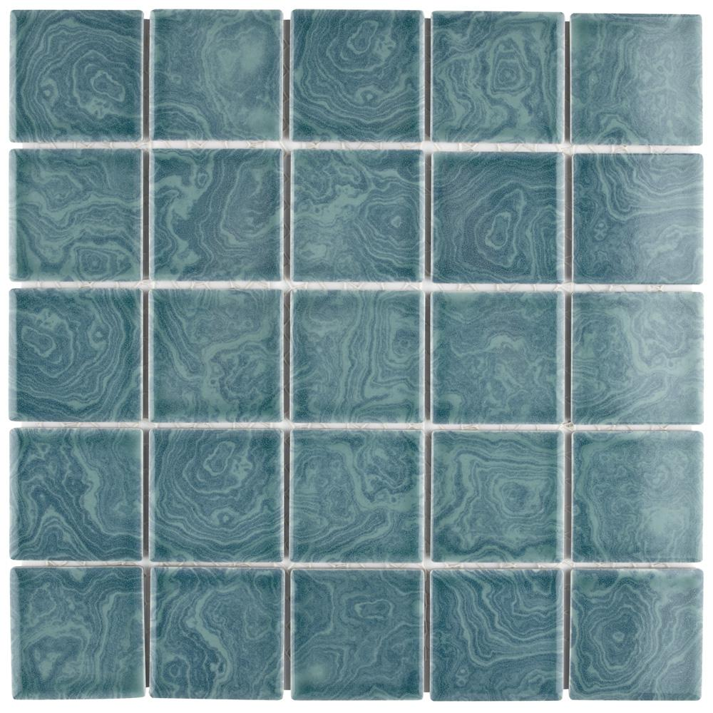 Merola Tile Resort Palm Green 12 in. x 12 in. x 5 mm Porcelain ...