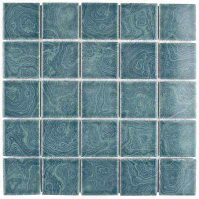 Resort Palm Green 12 in. x 12 in. x 5 mm Porcelain Mosaic Tile