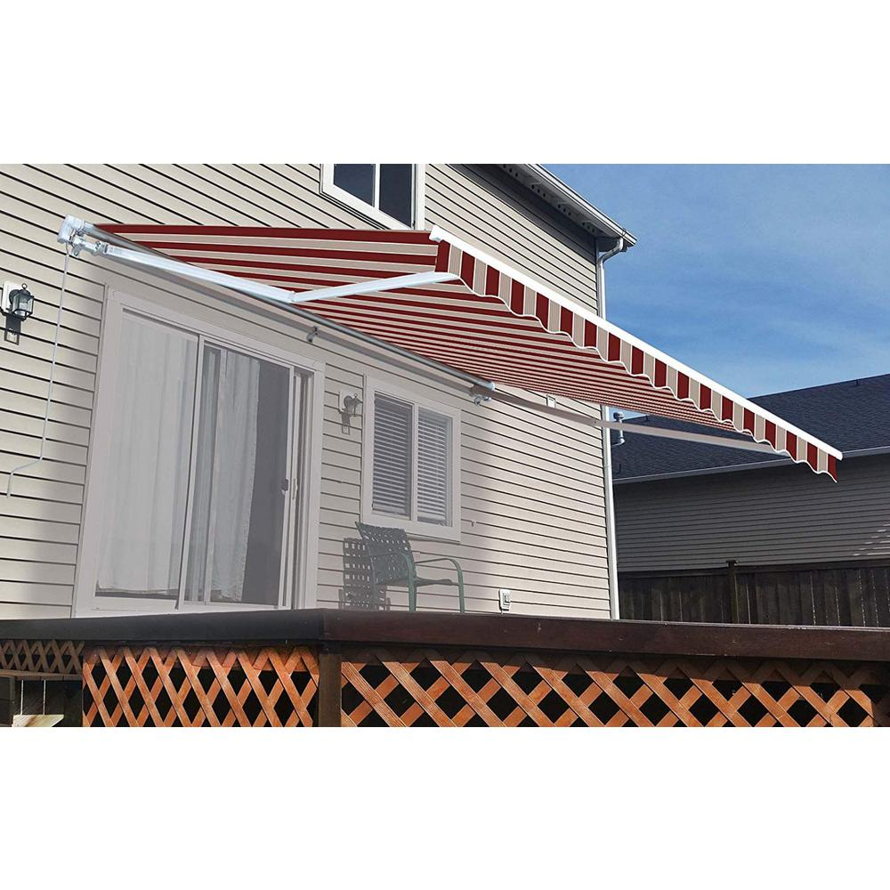 Aleko 13 Ft Manual Patio Retractable Awning 120 In Projection In Multi Striped Red Aw13x10mstrre19 Hd The Home Depot