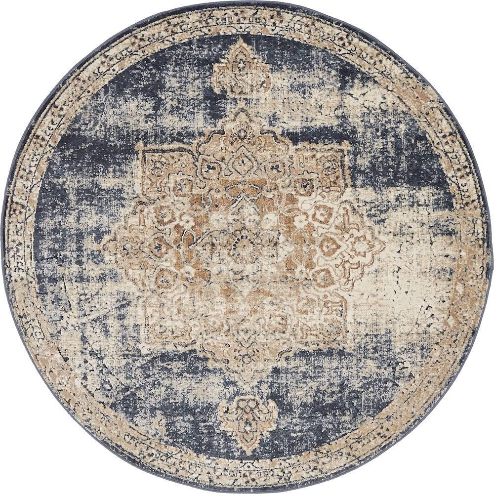 Unique Loom Chateau Roosevelt Dark Blue 4' 0 x 4' 0 Round Rug