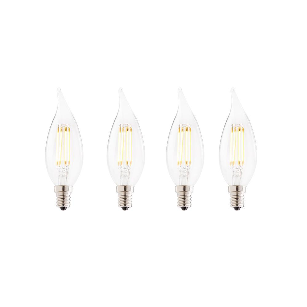 40W Equivalent Warm White Light CA10 Dimmable LED Filament Light Bulb