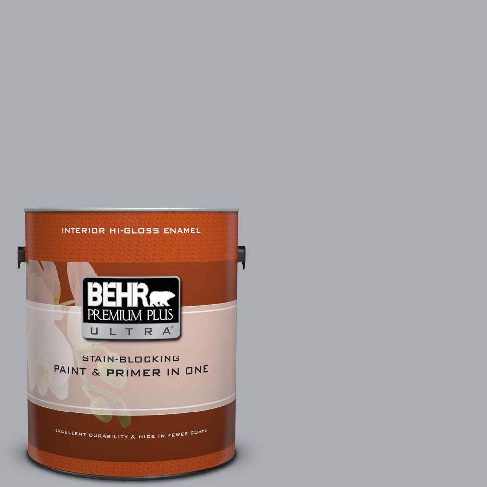 1 gal. #760E-3 Gray Timber Wolf Hi-Gloss Enamel Interior Paint