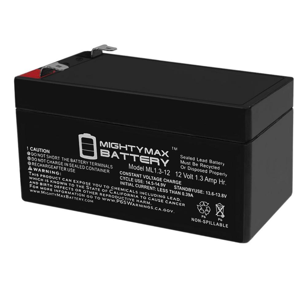 12-Volt 1.3 Ah Sealed Lead Acid (SLA) Battery Includes 12-Volt Charger