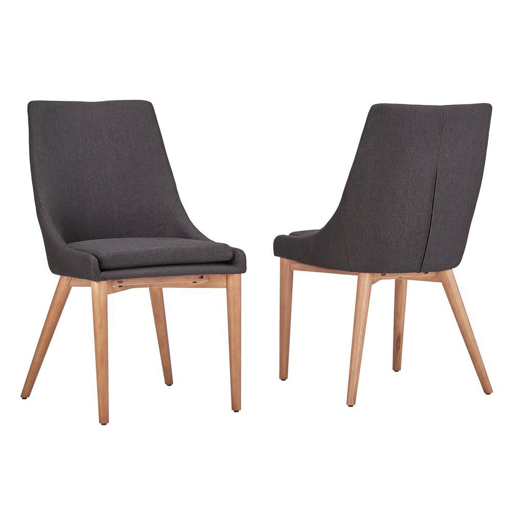 HomeSullivan Nobleton Dark Grey Linen Dining Chair (Set of 2) 405048SAK-DG2P