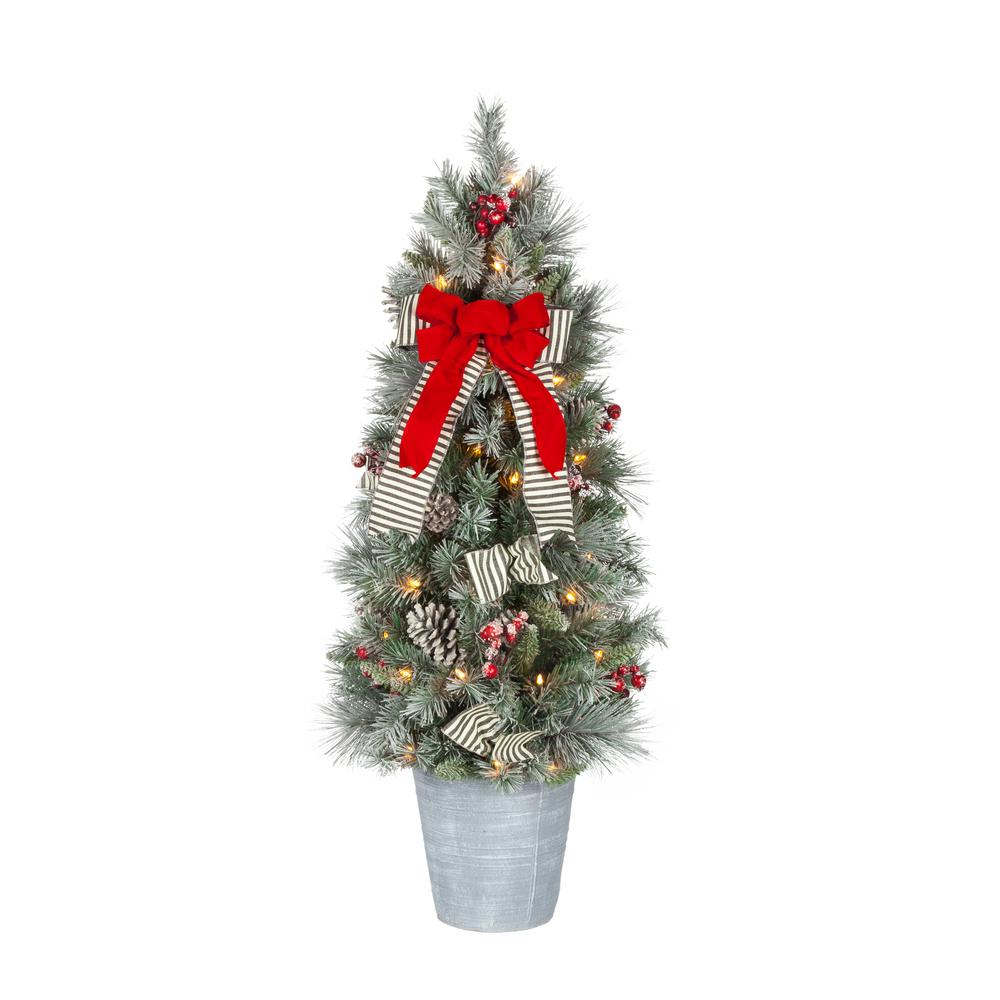 Home Accents Holiday 4 ft. Snowy Pinecone and Berry Artificial Christmas Porch Tree with 50 UL Clear Lights
