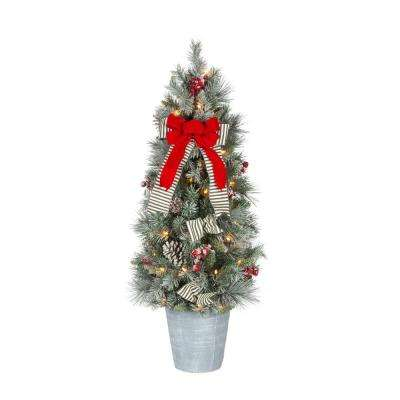 snowy pinecone and berry artificial christmas porch tree with 50 ul clear lights - Mini Christmas Decorations