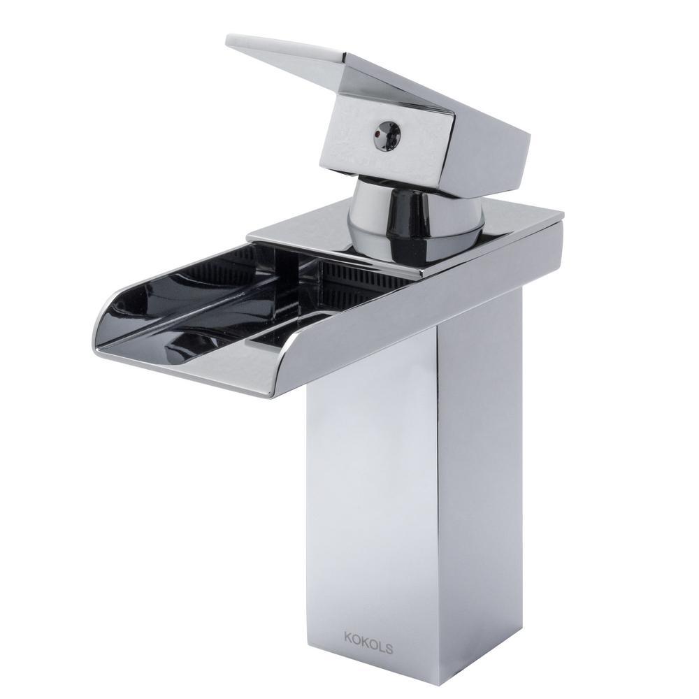 Kokols Single Hole 1 Handle Waterfall Bathroom Faucet In Chrome 81h39chr The Home Depot