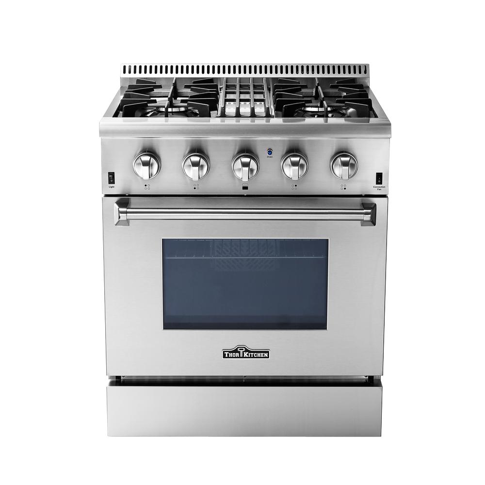 Thor Kitchen 30 in. 4.2 cu. ft. Dual Fuel Range in Stainless Steel ...