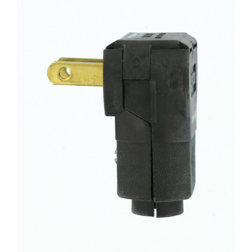 15 Amp 125-Volt Non-Polarized Angle Plug, Black