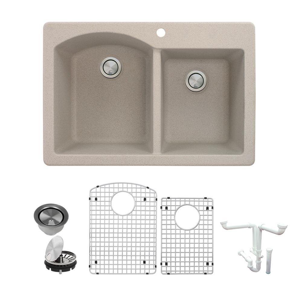 Aversa All-in-One Drop-in Granite 33 in. 1-Hole 1-3/4 in. D-Shape Double Bowl Kitchen Sink in Cafe Latte
