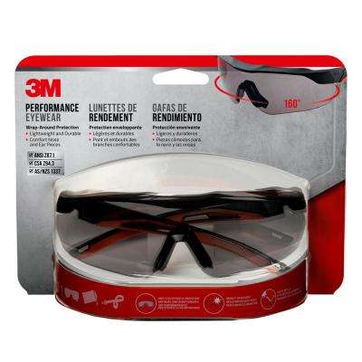 Black with Red Accent Frame and Gray Anti-Fog Lens Performance Safety  Glasses with Aerodynamic Design