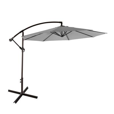 Bayshore 10 ft. Cantilever Hanging Patio Umbrella in Gray