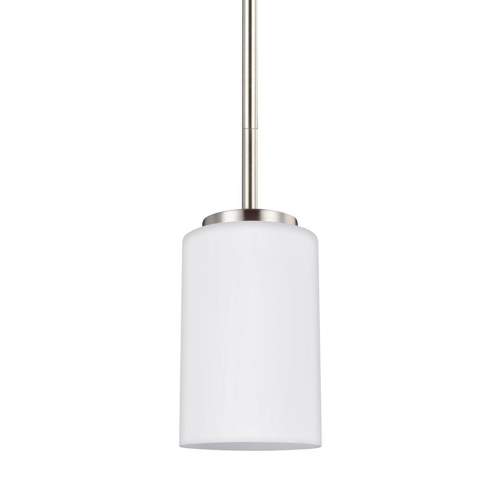 Sea Gull Lighting Oslo 1-Light Brushed Nickel Pendant with LED Bulb