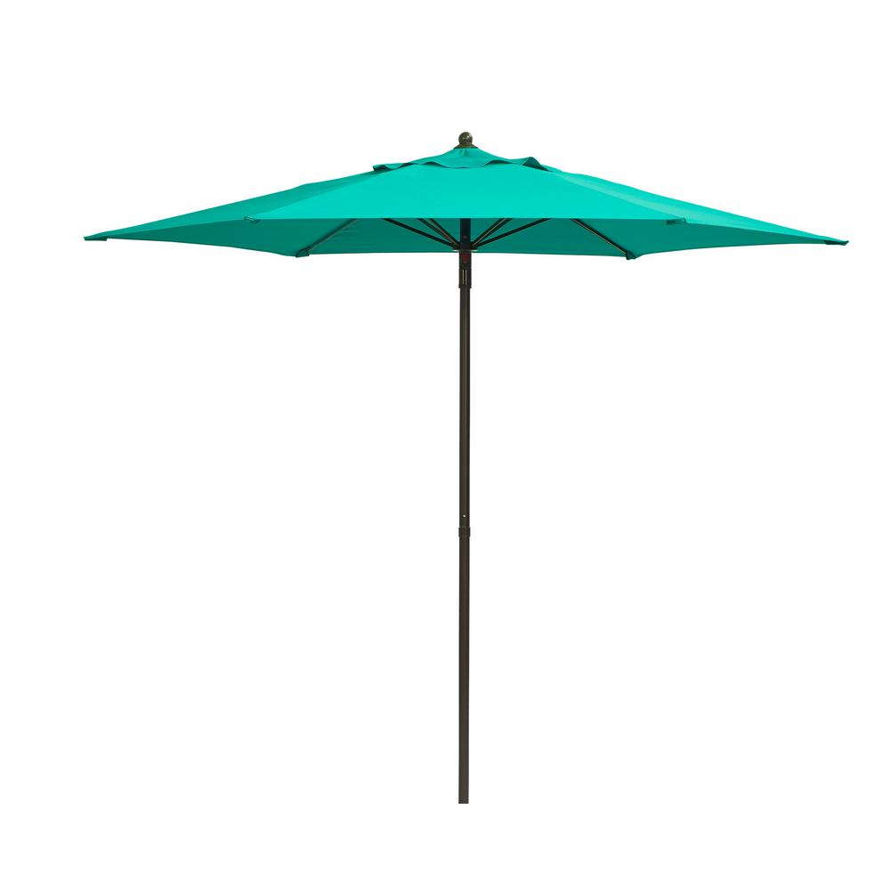 Attirant Hampton Bay 7 1/2 Ft. Steel Push Up Patio Umbrella In