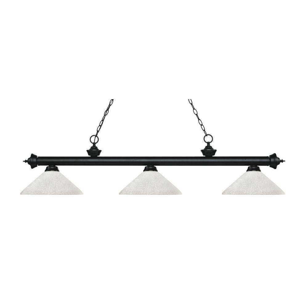 Filament Design Lada 3-Light Matte Black Island Light with White Linen Glass Shades
