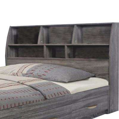 Contemporary Style Gray Twin Size Bookcase Headboard