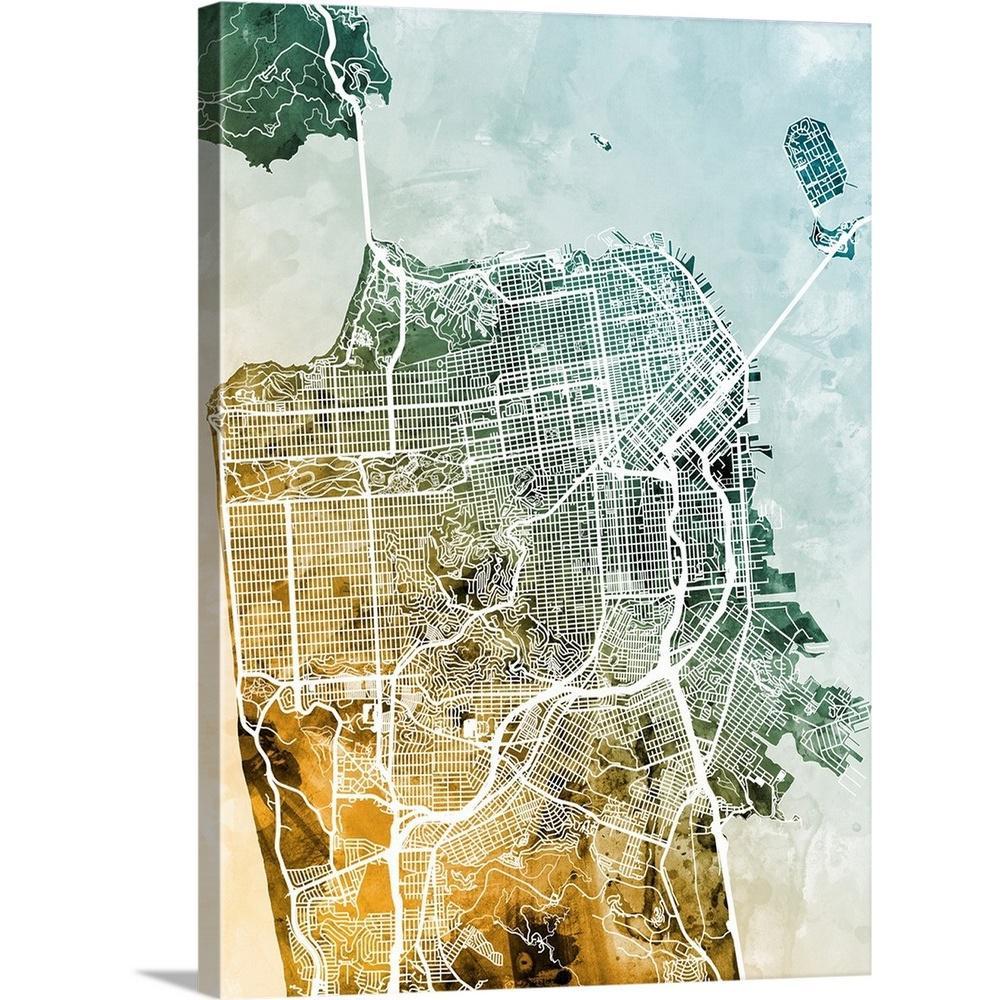"""San Francisco City Street Map"" by Michael Tompsett Canvas Wall Art"