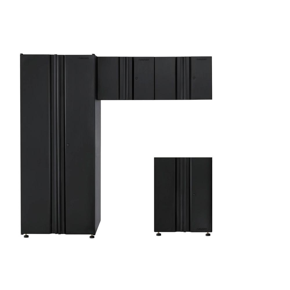 Husky Welded 78 in. W x 75 in. H x 19 in. D Steel Garage Cabinet Set in Black (4-Piece)