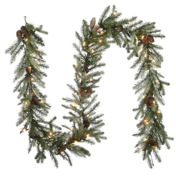 9 ft. Feel Real Snowy Morgan Spruce Garland with 50 Clear Lights