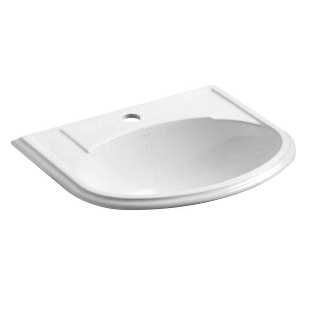 KOHLER Devonshire Drop-In Vitreous China Bathroom Sink in White with Overflow Drain