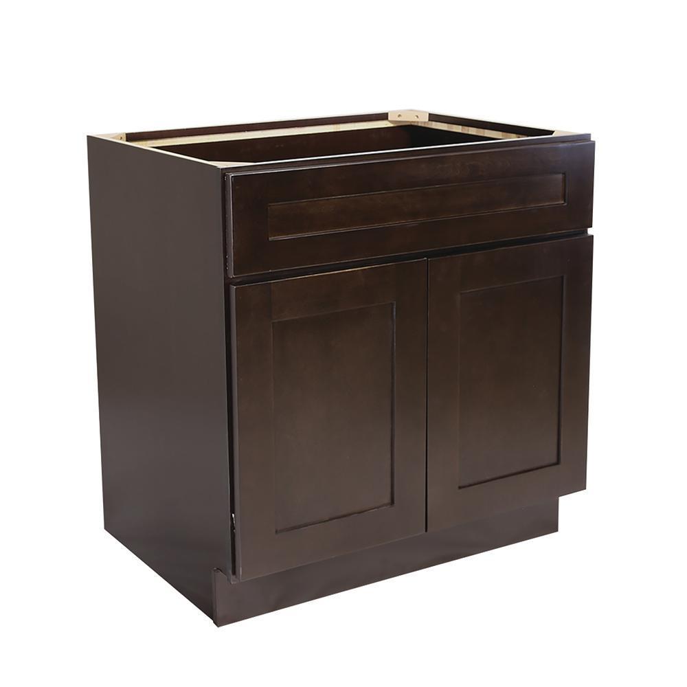 Ready to Assemble 36 in. x 34-1/2 in. x 24 in. Brookings Shaker Style 2-Door Sink Base Cabinet in Espresso