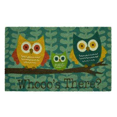 Bright Eyed Owl 18 in. x 30 in. Coir Door Mat