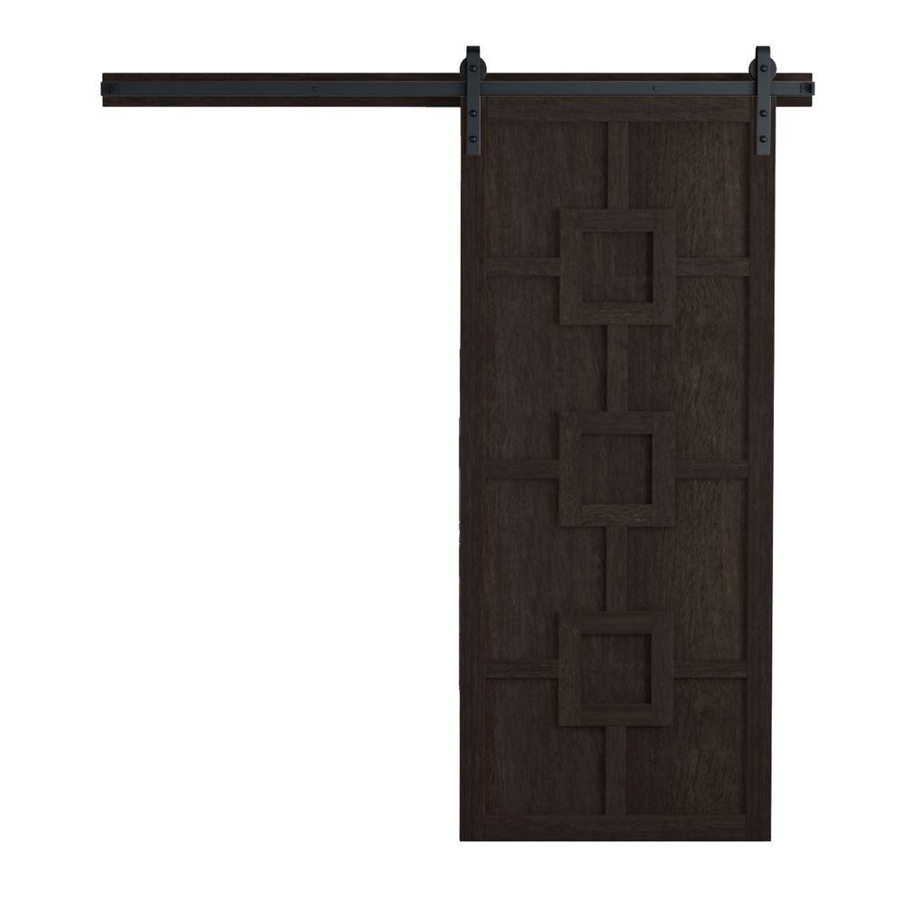 VeryCustom 36 in. x 84 in. Mod Squad Midnight Wood Barn Door with Sliding Door Hardware Kit
